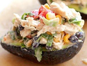 Avocado stuffed creamy Chicken salad recipe