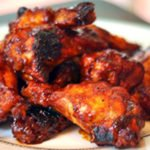 Maple Bourbon Chipotle Chicken wings in oven